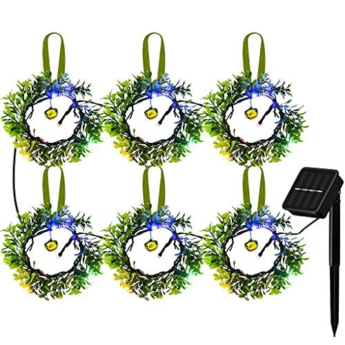 SMEJS Cadena de luz de guirnalda solar LED Color Cadena de luz impermeable Cadena de luz decorativa de hoja verde montada en la pared para exteriores