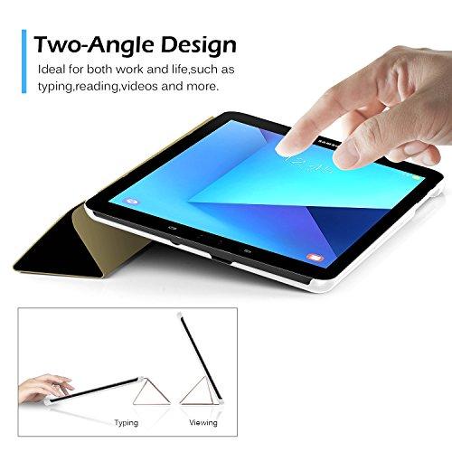 IVSO Hülle für Samsung Galaxy Tab S3 9.7 T820/T825, Ultra Schlank Slim Schutzhülle Hochwertiges PU mit Standfunktion Perfekt Geeignet für Samsung Galaxy Tab S3 9.7 2017 Modell, Gold