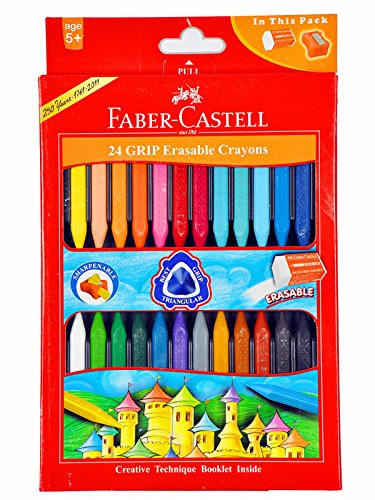 Faber-castell Early Age Moulded Erasable Grasp Crayons for Age 6+ (Grip Erasable Crayons Pack of 24Pcs)