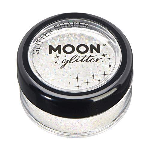 Shaker brillant iridescent par Moon Glitter (Paillette Lune) – 100% de paillettes cosmétique pour le visage, le corps, les ongles, les cheveux et les lèvres - 5g - Blanc