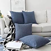 Home Brilliant Set of 4 Lined Linen Textured Decorative Decoration Throw Pillow Cover Indigo Cushion Covers for Sectional, 18x18 inch, Navy Blue