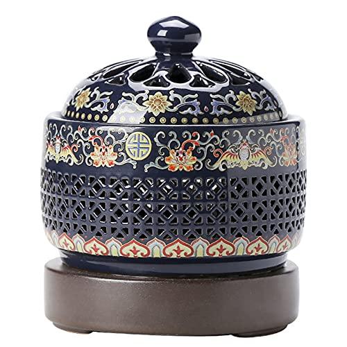 LLDKA Quemador de Incienso de cerámica eléctrica con luz Nocturna, Ajustable a Temperatura, Adecuado para Dormitorio, Oficina