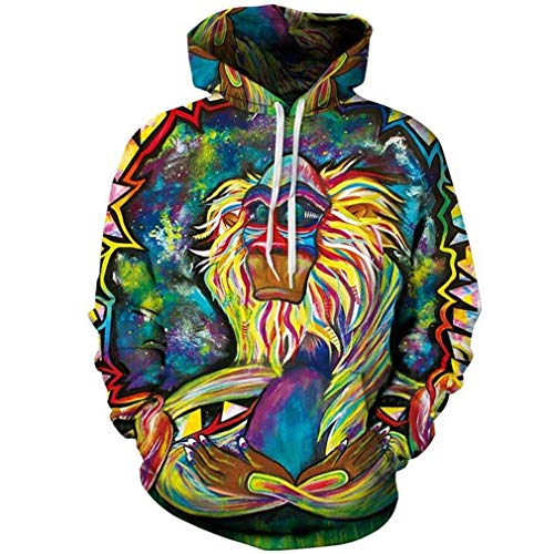 Saoye Fashion 3D Hoodies Männer Nner AFFE Psychedelic Gedruckt 3D Kleidung Sweatshirts Herbst Winter Frauen Pullover Mens Casual Cap Trainingsanzug (Color : Zsqwyt1, Size : 2XL)