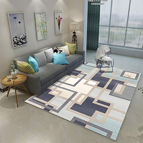 HIGHKAS Modern Living Room Carpet,Soft Area Rugs,Home Floor mats Bedroom Coffee Table Carpet Washable Non-Slip Cozy Rug-F 63x91inch(160x230cm)