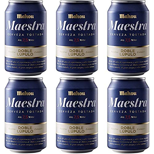 MAHOU MAESTRA Bier 7.5% Alkohol. Dosen 330 ml. EINWEG Bierpaket. biere der welt, bier set, geschenke für männer (24 Dosen, 0.33 l)