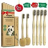 Brosse a Dent Bambou Paquet de 6 + 2 Porte Brosse à Dents, Zero Dechet Brosse a Dent Biodégradable 100%, avec des Poils de Charbon de Bambou, Marqueurs Différentes et Pack Recyclable