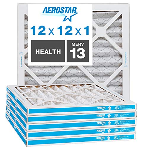 Aerostar Home Max 12x12x1 MERV 13 Pleated Air Filter Made in the USA Captures Virus Particles, Actual Size 11 3/4
