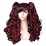 ColorGround Long Curly Multi-Color Cosplay Wig with 2 Ponytails(Black with Red)