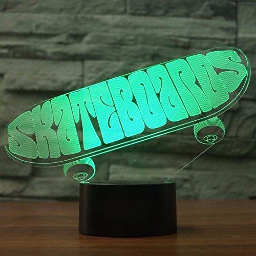 Jinson well 3D sport skateboard Lampe optische Illusion Nachtlicht 7 Farbwechsel Touch Switch Tisch Schreibtisch Dekoration Lampen USB Spielzeug