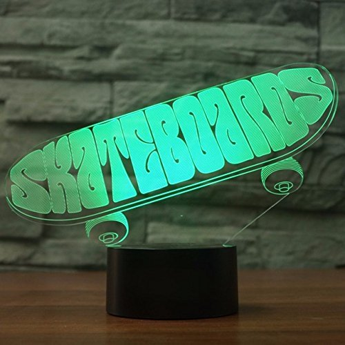 Jinson well 3D sport skateboard Lampe optische Illusion Nachtlicht 7 Farbwechsel Touch Switch Tisch Schreibtisch Dekoration Lampen perfekte Weihnachtsgeschenk mit Acryl Flat ABS Base USB Spielzeug