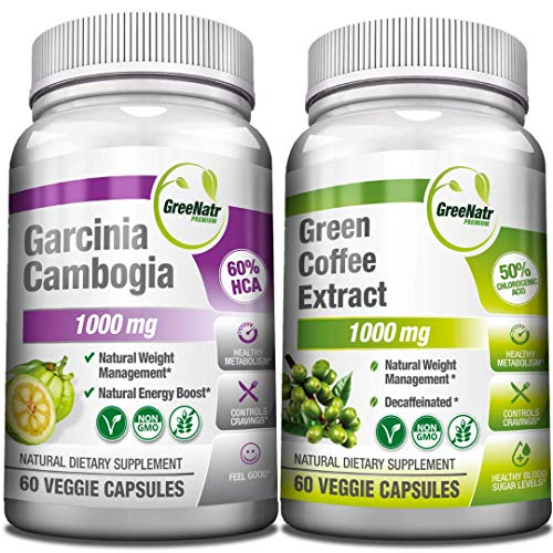 Garcinia Cambogia and Green Coffee Extract, Natural Weight Management and Energy Booster Bundle, 1000 mg per Serving, AM & PM Servings for Better Results, Gluten Free & Non GMO, 120 Vegan Capsules