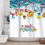 Coloridas bolas de Navidad adornos, cascabel, regalos colgados en hojas de pino tela cortina de ducha, cuarto de baño, oficina, día festivo, decoración de pared como tapiz y fondo de cabina de...