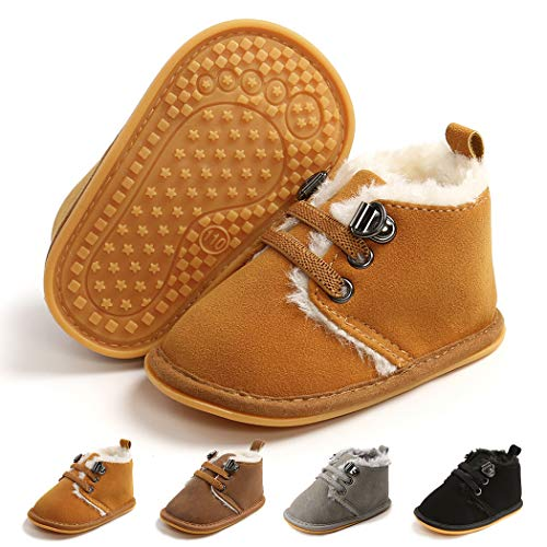 Infant Boots Winter Baby Girl Boy Shoes Rubber Sole Anti-Slip Toddler Snow Warm Prewalker Newborn Boots(6-12 Months M US Infant,B-Brown)