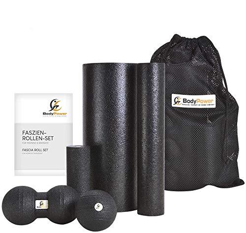 WOMA BodyPower Faszienrolle Set - 3 x Faszienrolle Klein und Groß, 1x Faszienball, 1x Duo Ball - Massage Set für Mehr Entspannung und Weniger...