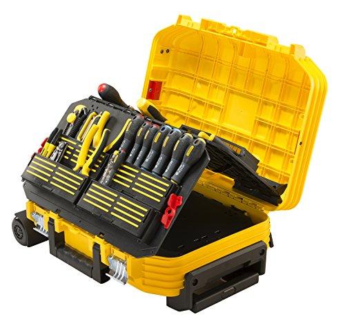 Stanley FMST1-75530-Maletín de herramientas con ruedas, reforzado con fibra de vidrio, estructura de acordeón, empuñadura telescópica con cubierta de goma. Incluye juego de herramientas de 104 piezas.