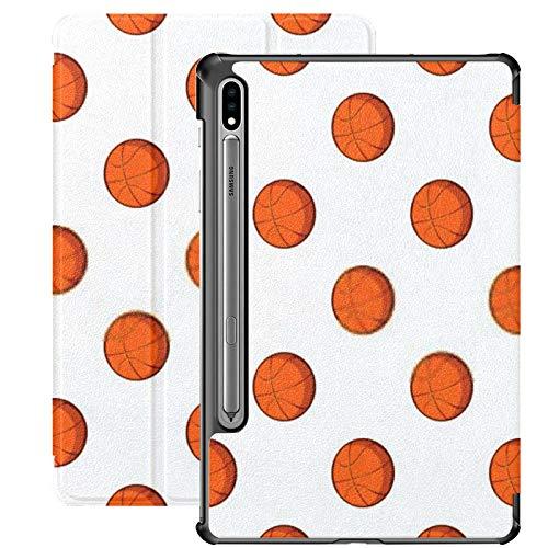 Galaxy Tablet S7 Plus Funda de 12,4 Pulgadas 2020 con Soporte para bolígrafo S, patrón de Pelota de Baloncesto Ilustración de Dibujos Animados Funda Protectora de Folio con Soporte Delgado Web para S