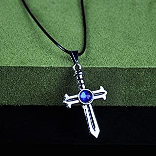 usongs Fairy tail cross necklace pendant gray metallic color animation around second element sweater chain pendant