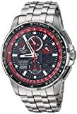 Citizen Men's Eco-Drive Japanese-Quartz Aviator Watch with Stainless-Steel Strap, Silver, 23 (Model: JY8059-57E)