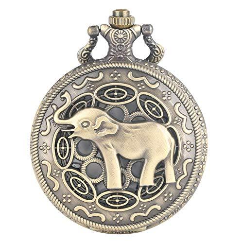 J-Love Reloj Bolsillo Retro, Reloj Bolsillo con patrón Elefante asiático Hueco, Reloj Bolsillo Cuarzo Bronce Vintage, Collar, Reloj Colgante, Cadena Retro, Regalos