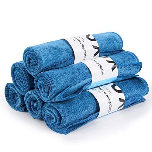Luxureal Mikrofasertücher mit 400 GSM 6er Set Microfasertuch Microfaser Tuch Auto für Polieren Waschen Trocken Staubwischen und Pflegen, 40 x 40 cm