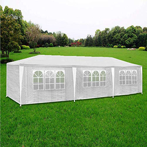 Hengda 3x9m Pavillon UV-Schutz weiß Partyzelt Material PE-Plane Gartenzelt Hochwertiges mit 8 Seitenteilen für Hochzeit Party Garten Markt - 6