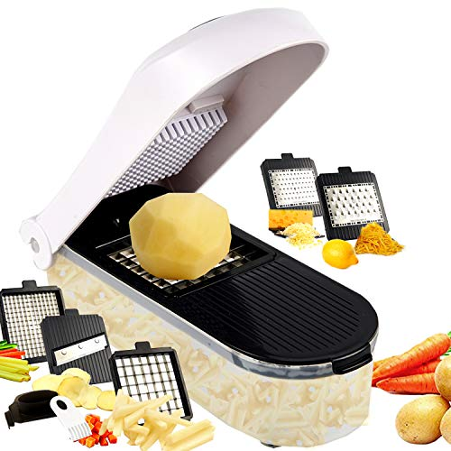 GProME Professional French Fry Cutter Potato Cutter for Easy Slicing, 5 Blades,Pro Vegetable Slicer Food Chopper and dicers for Veggies, Onions,Cheese,Fruit Super Sharp Blades(Black)