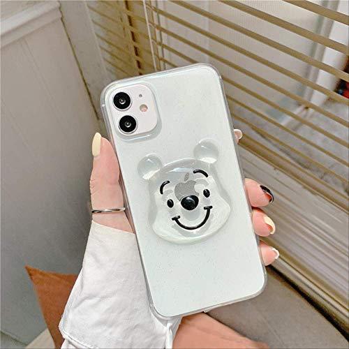 Lindas Fundas teléfono con diseño Oso Dibujos Animados en 3D con Purpurina para iPhone 12 12MIni 11 Pro XS MAX SE X XR 7 8 Plus, Funda Silicona Transparente y Suave para iPhone SE (2020)