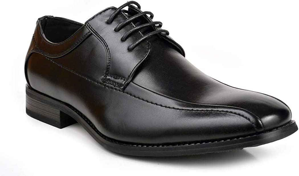 Men Classic Dress Oxfords Lace up Shoes Bicycle Toe Dressy Black