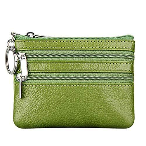 Portamonete Piccolo in Vera Pelle Mini Portafoglio con Cerniera Portachiavi per Donna (verde)