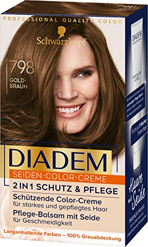Diadem Seiden-Color-Creme Haarfarbe 798 Goldbraun Stufe 3, 3er Pack(3 x 170 ml)