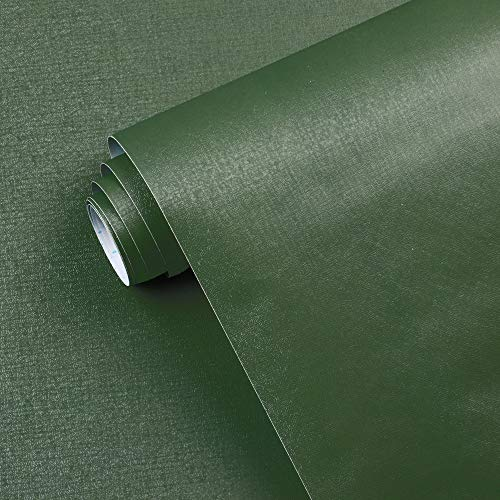 17.7' x118' Dark Green Peel and Stick Wallpaper Green Contact Paper Waterproof Self Adhesive Removable Green Wall Paper Textured Wallpaper Decorative for Wall Covering Countertop Table Vinyl Film