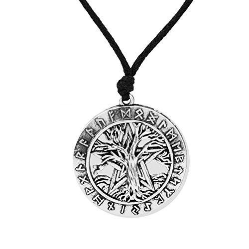 VASSAGO Collar vintage con colgante de pentagrama de árbol de la vida de Wicca Norse Viking Rune Tree of Life Yggdrasil