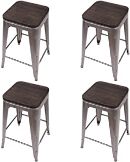GIA 4GM VC Toolix 24-Inch Counter-Height Backless Stool, 4-Pack, Gunmetal/Dark Wood
