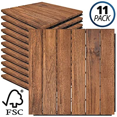 Mammoth Easy Lock Sustainably Sourced Solid Acacia Wood Oiled Finish Interlocking Deck Tiles