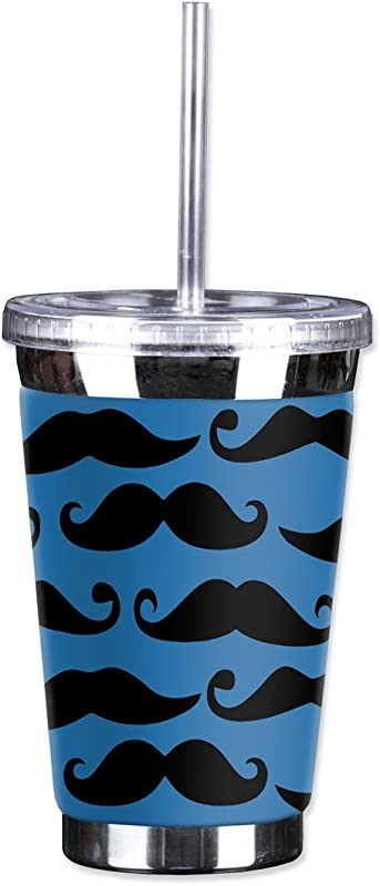 Mugzie Mustache TGC Mustache To Go Tumbler With Insulated Wetsuit Cover 16 Oz Blue