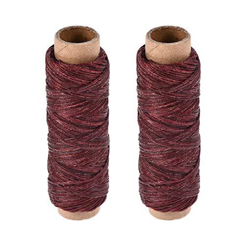 sourcing map - Hilo de coser de cuero, 150 D/1 mm de poliéster, cuerda encerada plana para costura a mano, encuadernación de cuero, manualidades, color rojo oscuro, 2 unidades