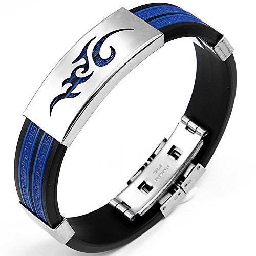 JewelryWe Schmuck 14,5 mm Breite Edelstahl & Gummi Herren Armband Armreif Farbe Blau