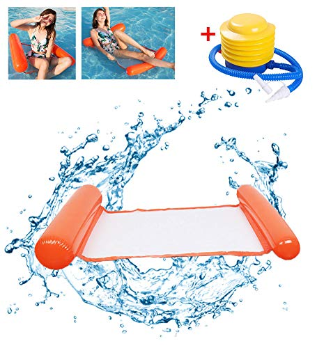 XYQCPJ WasserhäNgematte Aufblasbares Schwebebett,Transportabler Wasserliege Superleichte Floating Lounge Stuhl Luftmatratzen Liege Schwimmbad FüR Erwachsene Und Kinder