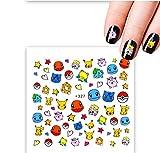 1pcs Pokemon Cartoon Nail Sticker Fruit Water Decals Transfer Colorful Slider Tips Nail Art Watermelon Decor (Color : 21)