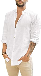 Makkrom Mens Long Sleeve Shirts Linen Button Down Beach Yoga Casual Summer Shirts