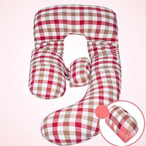 47-B Almohada para mujeres embarazadas, almohada para dormir en el abdomen, almohadilla para dormir en la cintura, almohada, almohada de algodón para lavar el agua (color de color rosa)