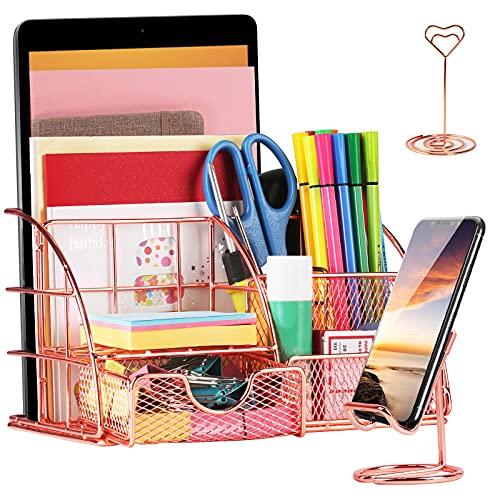 YAUNGEL Schreibtisch Organizer, Metall Desktop Organiser Set mit Schublade, Stifthalter , Handyhalter, Kartenhalter für Büro, Schule und Haushalt