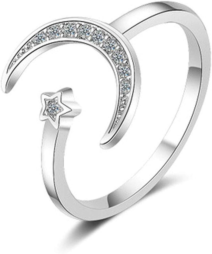 Flzaitian Crescent Moon Ring,Star Moon Adjustable Open Rings for Women Girls