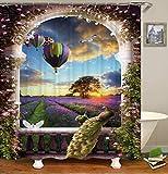 OCCIGANT Home Decor Wasserdichter Polyester-Duschvorhang für europäischen Stil Pfau schöne Taube Fallschirm Lavendel Garten Badvorhang mit Haken
