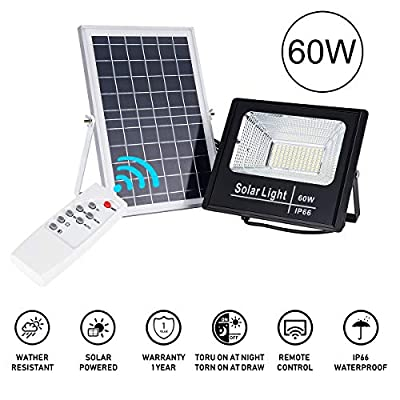 60W Solar Powered Flood Light, 132 LED 6000 LM Outdoor IP65 Waterproof with Remote Control, Solar Flood Lights Outdoor Auto On/Off Solar Security Light for Yard Garage House Porch Pool
