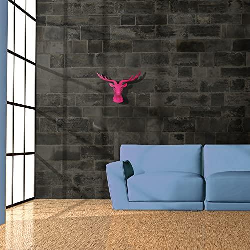 Walplus 43 X 26.5 11.8 cm Tête Cerf Animal Manteau Support Mural Autocollants Art Maison Décoration Salon Chambre Bureau Décor DIY, Rose