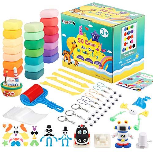 iFergoo Modelling Clay Kit, 50 Farben Lufttrockenen Lehm Kinderknete, Modelliermasse Bunt Set DIY Handgemachtes Lernen, Kinder Jungen Mädchen Spielzeug Geschenk - 50 Farben…