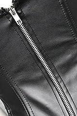 EUDOLAH Women's Gothic Lace Up Front Punk Faux Leather Bustier Corset Dress Plus Size Lingerie Sets Large (3XL, Black) #2