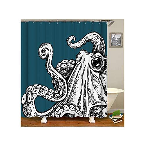Amody Duschvorhang Stoff Waschbar Kraken-Monster Duschvorhang Anti Schimmel 180x200CM Vorhänge Bad Fenster