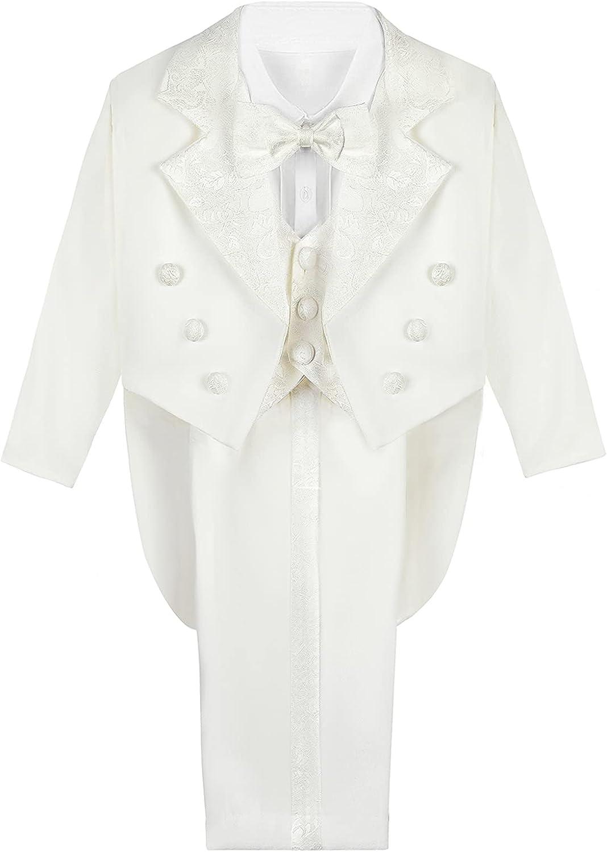 A&J DESIGN Baby Boys Tuxedo Suits, 5 Pcs Formal Outfit Jacket & Vest & Shirt & Pant & Bow Tie